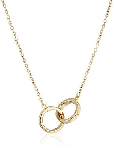 Gold Interlocking - 14k Yellow Gold Polished Interlocking Rings Necklace, 17