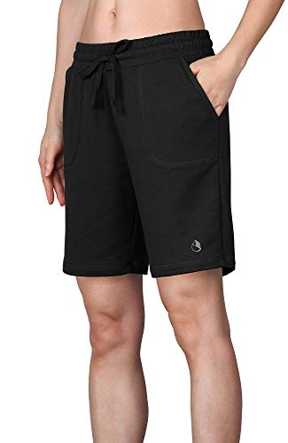 icyzone Athletic Running Yoga Shorts for Women - Women's Workout Active Lounge Bermuda Shorts with Pockets (L, Black) ()