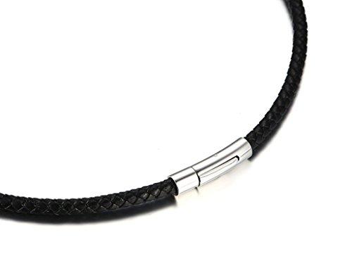 guter Service Super Qualität Exklusive Angebote Bishilin Modeschmuck Herren PU LederKette ohne Anhänger mit Edelstahl  Magnetverschluss Breite 5MM Halskette Schwarz 45/50/55CM