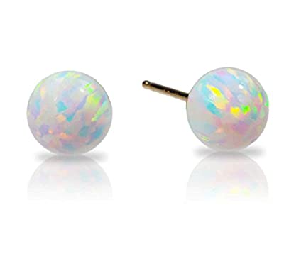 14k Yellow Gold Created Opal Fiery White Round Stud Earrings from uGems