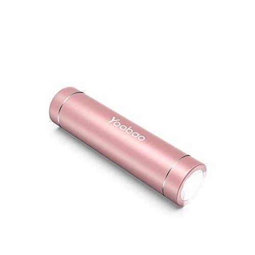 Yoobao Portable Charger 2500mAh Ultra Slim Power Bank Mini Flashlight External Battery Pack for Hiking Camping Charging Phones-Rose Gold