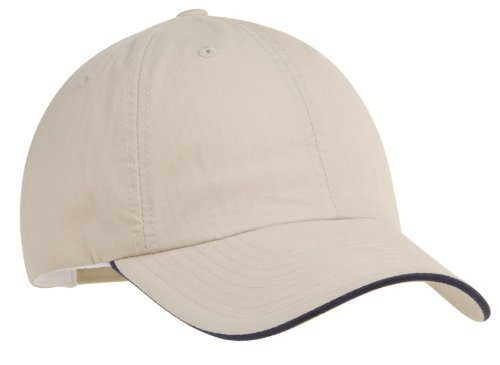 (Port Authority Men's Sandwich Bill Cap OSFA Beige/Navy)