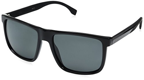 BOSS by Hugo Boss Men's B0879s Rectangular Sunglasses, Shiny Black/Gray Polarized, 57 mm