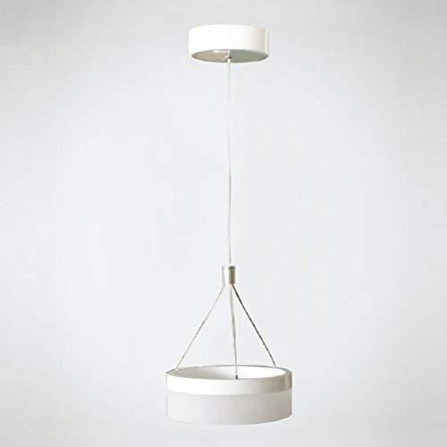 (LED Ring Glass Lamp Chandelier, 20 7Cm, Black and White, Adjustable,White)