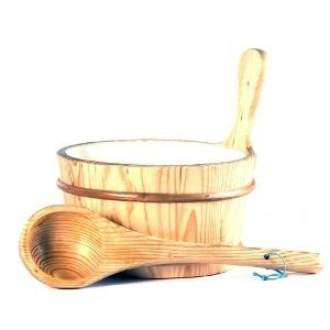 Sauna Finnish Accessories (Wooden 1 Gallon Finnish Sauna Bucket Including Matching Ladle)