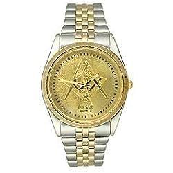 Pulsar Two-tone Bracelet Masonic Symbol Gold Dial Men's watch #PXF108M