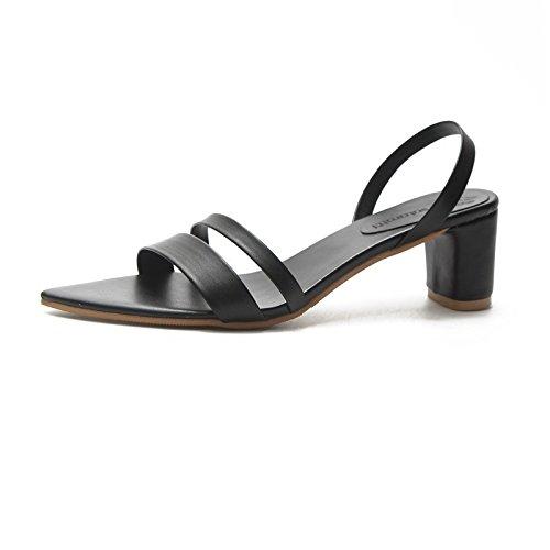 d6e606c4eeec VIVIOO Pumps,Damen Pumps Frauen Sandalen Offene Spitze Hausschuhe Frauen  Sandale Starke Ferse Frauen Schuhe Frauen Pumpen Gladiator Schuhe 5 black  Sandals ...