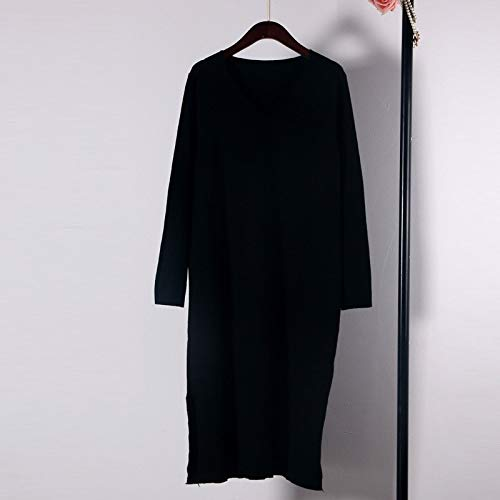 Black Cxlyq Dresses V Neck Solid Loose Long Knitted Dress Sweater Women Long Sleeve Oversize Jumper Solid Runway Fall Winter Dress