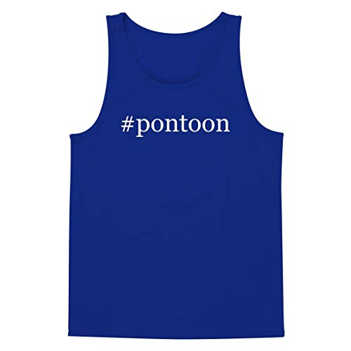 The Town Butler #Pontoon - A Soft & Comfortable Hashtag Men's Tank Top, Blue, Large