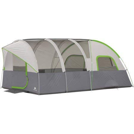 Ozark Trail 16' x 8' Modified Dome Tunnel Tent,With Unique Shape Creates Separate Living,Sleeping and Storage Spaces,Large Mesh Panels,Tent Stakes and Carry Bag Included,Sleeps 8,Gray/Green