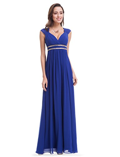 Ever-Pretty Womens Long Sleeveless Ruched V-Neck Beaded Empire Waist Military Ball Dress 6 US Saphire - Ruched Dress Beaded Prom