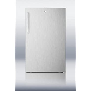 Summit FF511LCSS 20 4.1 cu.ft. Refrigerator with Curved Towel Bar Handle Factory Installed Lock Automatic Defrost Interior Light and Hospital Grade Green Dot Plug in Stainless