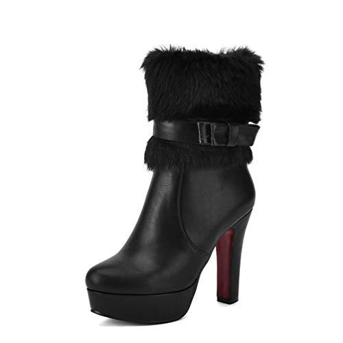 DETAWIN Women Platforn Mid Calf Boots Block High Heel Buckle Faux Fur Side Zipper Waterproof Winter Boots