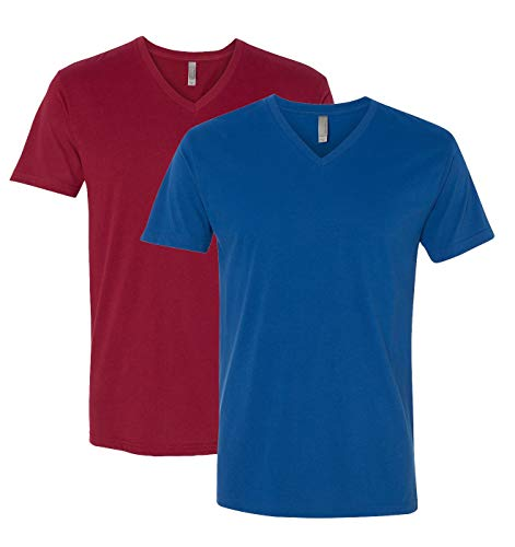 (Next Level Apparel 6440 Mens Premium Fitted Sueded V-Neck Tee -2 Pack, Cardinal + Cool Blue (2 Shirts) - Medium)