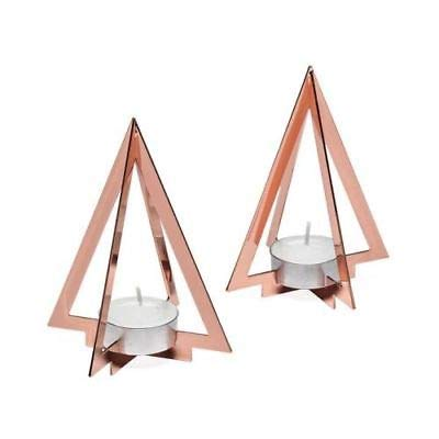 Torre & Tagus Copper Pyramid Frame Tealight Holders Set of 2