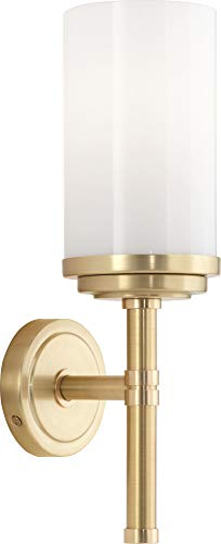 Robert Abbey 1324 Sconces with Casedhite Glass Shades, Brushed Brass/Polished Brass Finish ()