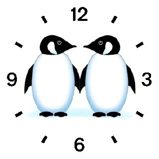 Two Penguins - Penguin Cartoon - JP - WATCHBUDDY® DELUXE TWO-TONE THEME WATCH - Arabic Numbers - Brown Leather Strap-Size-Children's Size-Small ( Boy's Size & Girl's Size )