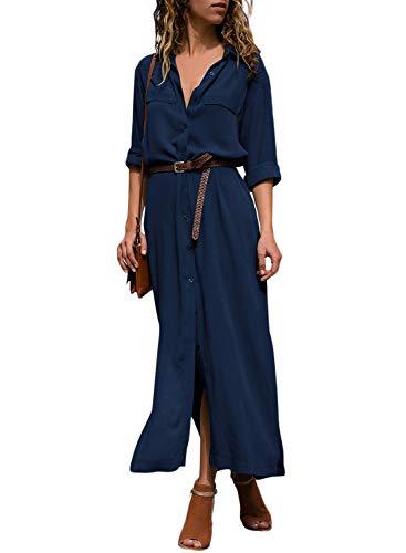 Dokotoo Womens Casual Shirt Dress Roll up Sleeve Button Down Maxi Dresses