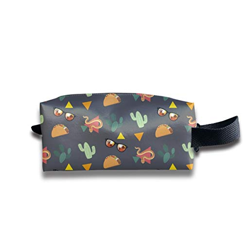 V5DGFJH.B Clash Durable Zipper Wallet Makeup Handbag with Wrist Band Snake Cactus and Sunglasses Toiletry Bag]()