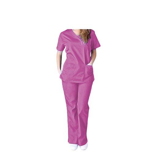 Women's Uniform Medical Scrubs Set W/Tie Back - (X2, Pink)