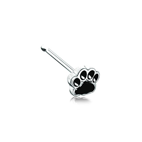20 GA Animal Lover Paw Print Nose Stud Ring 316L Surgical Stainless Steel Body Piercing Jewelry for Women and Men Davana Enterprises