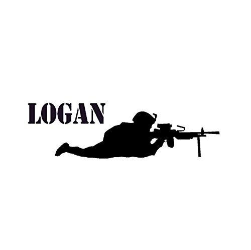 Cheap  aluckyhorseshoe Soldier Wall Decal Boys Name Sticker Military Decal Teen Boys Room..