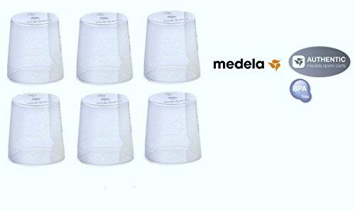 (6) Medela Clear Travel Caps/ bottle cap/ nipple cap/ collar cap - Genuine for Use with Collar Ring - Medela Bottles (Use Bottle Caps)