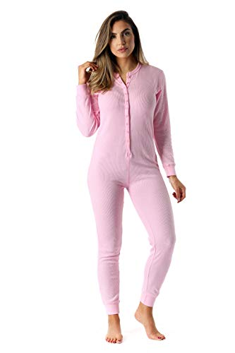#followme Women's Thermal Henley Onesie Union Suit 6743-PNK-XL -