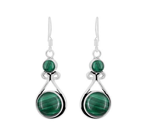 (Genuine Round Shape Malachite Dangle Earrings 925 Silver Overlay Handmade Fashion Jewelry For Women)