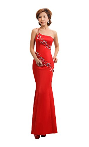 mit Rot Shoulder One Emily Beauty formale Mermaid Abendkleid 0fYwfpq4