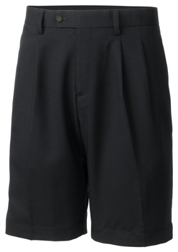Cutter & Buck Microfiber Shorts (Cutter & Buck MCB01826 Mens Twill Microfiber Pleated Short, Black-32)