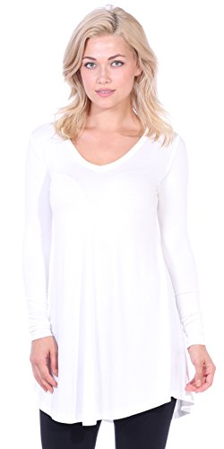 Popana Women's Tunic Tops for Leggings Long Sleeve Shirt Plus Size Made in USA Small Pearl ()