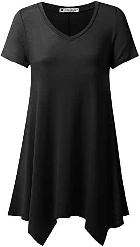 URBANCLEO Womens Handkerchief Hem Tunic Top Long T-shirt (PLUS Size Available)