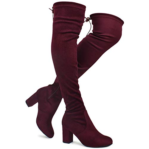 Premier Standard - Women Fashion Comfy Vegan Suede Block Heel Slip On Thigh High Over The Knee Boots, TPS Boots-20Atinob Burgundy Su Size - High Knee Boots Fashion Suede