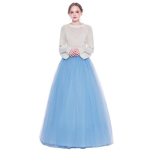 Mesh Full Skirt (OPPANOL Women's Layered Pleated A Line Tulle Tutu Maxi Skirt (Medium/Large, Light Blue))