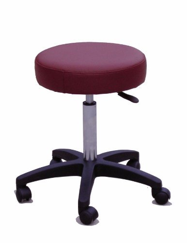 Sivan Health and Fitness Rolling Adjustable Stool for Massage Table, Burgundy