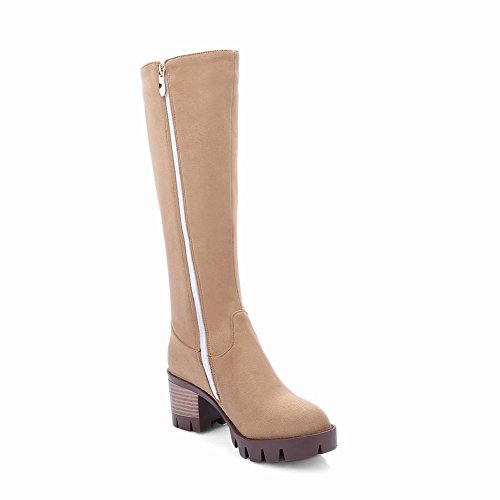 Latasa Womens Faux Nubuck Chunky Heels Zip up Knee Boots Apricot nGQxpX9lul