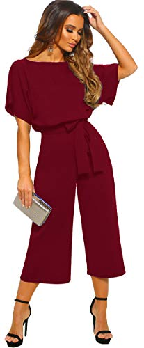 Longwu Women's Elegant High Waist Short Sleeve Jumpsuit Casual Wide Leg Pants Loose Rompers with Belt Wine Red-M