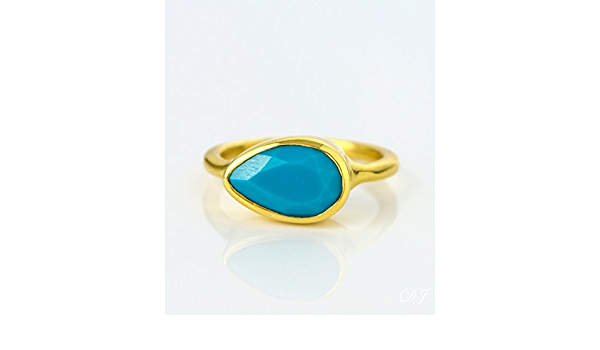 Stacking Girls Gift Rings BT22 December Birthstone Rings Pear Shaped Rings Natural Blue Topaz Rings 925 Sterling Silver Bezel Set Rings