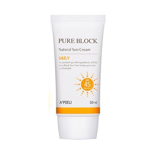 A'PIEU Pure Block Natural Daily Sun Cream - 50ml (SPF45 PA+++)