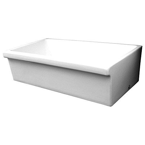 Whitehaus WHQ536-WHITE Farmhaus Quatro Alcove 36-Inch Reversible Fireclay Sink with Apron