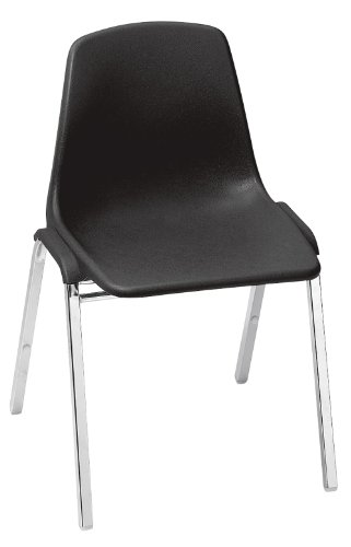 NPS 8110-CN Polyshell Stack Chair, 300-lb Weight Capacity, 9-1/4'' Length x 19-1/4'' Width x 31'' Height, Black (Carton of 4) by NPS