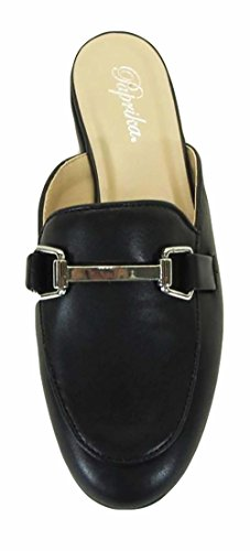 Paprika Women's Gold Tone Horsebit Hardware Backless Slip On Loafer Black Pu* vPSCB7MQE