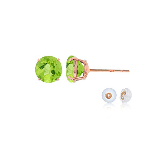 Genuine 10K Solid Rose Gold 4mm Round Natural Green Peridot August Birthstone Stud Earrings 10k White Gold Green
