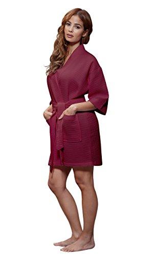 Turquaz Linen Lightweight Knee Length Waffle Kimono Bridesmaids Spa Robe (Large, Wine Red)
