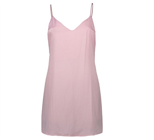 Weekendy Deep V Wrap Chest Dress Robe de Couleur Unie Velours Strap Dress Halter Dress Pink