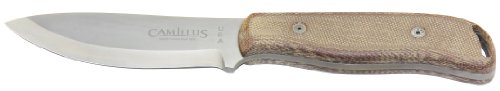 Camillus BushCrafter Fixed Blade Knife with Leather Sheath, Brown/Grey, 8.5 Inch