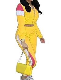 ouxiuli Womens Sweatsuit Color Block Crop Tops Two-Piece Sets Zipper Jogging Tracksuits