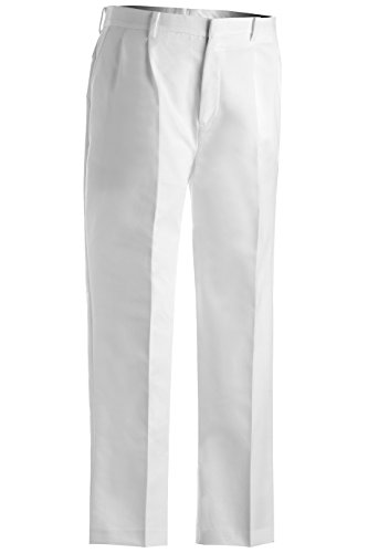 Edwards Garment Men's Tall Business Casual Chino Pleated Pant, WHITE, 38 35 (Blended Twill Pants)