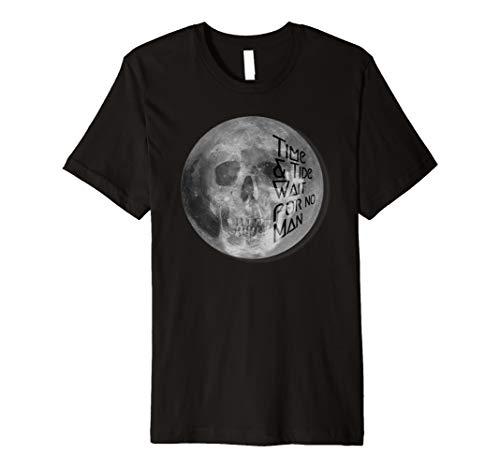 Moon & Skull. Time&Tide wait for no man. Lunar, goth tshirt